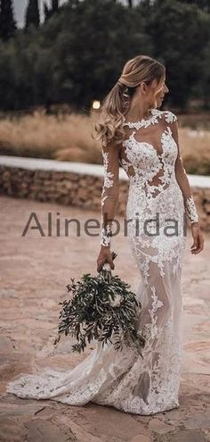 Long Sleeves Lace Mermaid Beach Country Wedding Dresses WD0576 #weddingdresses #weddingdress #bridalgown #weding #bridaldress #laceweddingdress #fashion #Ballgown #Country #boho #Princess #modest Country Wedding Dresses, Wedding Dresses Plus Size, Princess Wedding Dresses, Dream Wedding Dresses, Wedding Gowns, Modest Bridesmaid Dresses, Bridal Dresses, Bridesmaids, Tea Length Wedding Dress