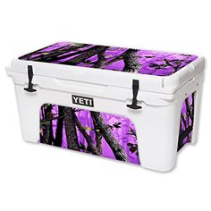 MightySkins Protective Vinyl Skin Decal for YETI Tundra 65 qt Cooler wrap cover sticker skins Purple Tree Camo *** More info could be found at the image url.