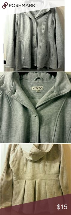 Merona Sweatshirt Coat Merona brand, light gray colored peacoat style coat, sweatshirt material - very comfortable!, button front, hood, and really cute back detail. Worn a couple times, great condition, size XL.  **Not from a completely smoke-free or animal-free home, please consider this before buying** Merona Jackets & Coats
