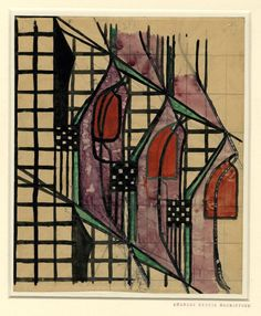 Textile design, Tulip Lattice; three tulips of red, violet and green, within a black grid Watercolour, over graphite, on buff paper