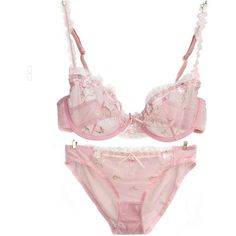 Pink Sexy Vintage Bra Brief Sets Lace Bras Knickers Transparent... ($14) ❤ liked on Polyvore featuring intimates, panties, sexy knickers, lace knickers and sheer knickers