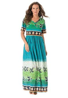 176e0722726 Only Necessities Women s Plus Size Petite Broomstick Lounger Laguna Green.  Cotton jersey knit mixed with printed woven crinkle.