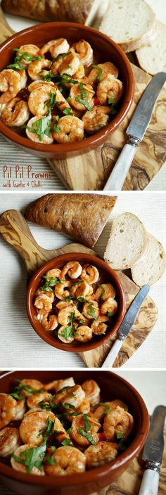 Spanish Pil Pil Prawn Shrimp with Garlic and Chilli - super fast food. Delicious and tasty dinner in only 5 minutes!