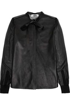 Valentino Pussy-bow leather and silk-chiffon shirt   NET-A-PORTER