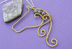 Gemstone Horse Necklace handmade pendant with by HiddenTreasury12
