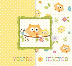 """Adorable gatefold-style, die-cut baby shower invitations perfectly set the tone for your Happi Tree Baby Owl-themed shower!  Each invite reads """"You're Invited"""" on the front provides the following fill-in-the-blank spaces inside: """"For"""", """"Time"""", """"Date"""", """"Place"""", """"Given By"""", and """"RSVP"""".  This is a bulk package, with 25 invitations and envelopes included.  A great value!"""