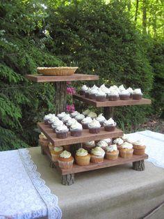 Rustic cupcake display, rustic cupcakes, cupcake stand wedding, cake and cu Rustic Cupcake Display, Rustic Cupcake Stands, Rustic Cupcakes, Cupcake Stand Wedding, Cake And Cupcake Stand, Wedding Cake Stands, Rustic Cake, Cool Wedding Cakes, Wedding Cupcakes