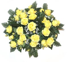 GSF's Finest headstone sprays make for a stunning visual display on any size headstone, whether viewed from up close or far away. The red roses are beautiful. Red And White Roses, White Lilies, White Peonies, Red Roses, Grave Flowers, Cemetery Flowers, Silk Flowers, Vase Arrangements, Silk Flower Arrangements