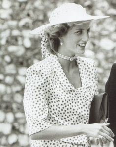 July 20, 1985:  Princess Diana at the wedding of Hon. Carolyn Hebert to John Warren at Highclere, Berkshire.
