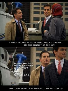 love the salesman's face when Neal Caffrey and Sara buy 4 of them White Collar Neal, Sara Ellis, I Understood That Reference, Show White, Beautiful Suit, I Love Lucy, Tv Quotes, Matt Bomer, Attractive Men