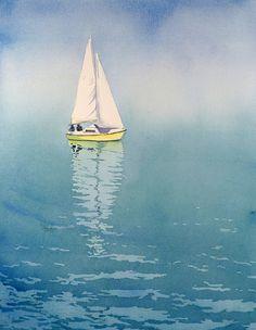 Plage art peintures couleur de voiliers aquarelle Fine art