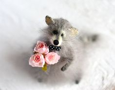 Raccoon Valentine's Day raccoon with rose knitted by OlgaMareeva
