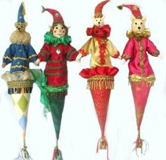 """Poppins Cone Puppets""  This wonderful array of 22"" cone puppets features an Elf, Cat, Mouse and Bear.  Bambole Cloth Doll Making Sewing Patterns by  Michelle Munzone"