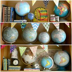 Great way to display globe collection. Angie's Home Made Lovely » Life Made Lovely