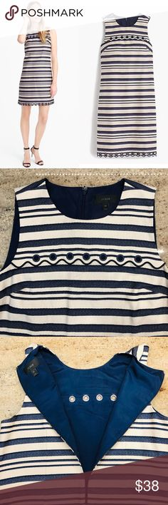 296ccb73f7c J CREW STRIPPED SCALLOPED DRESS A must-have classic yet trendy striped  shift dress with