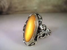 1940s Art Nouveau Ring Sterling Silver Ring Yellow
