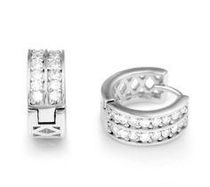 Amazon.com: Chuvora Sterling Silver Cubic Zirconia CZ Channel-Set Hoop Huggie Earrings (1.5 cm diameter): Chuvora: Jewelry
