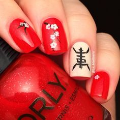 Cherry blossoms and Longevity symbol for Chinese New Year. Base colors: Orly Red Carpet and OPI My Vampire is Buff.