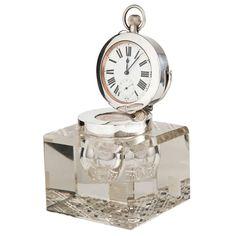 Superb Clock Inkwell by Mappin & Webb Birmingham 1910