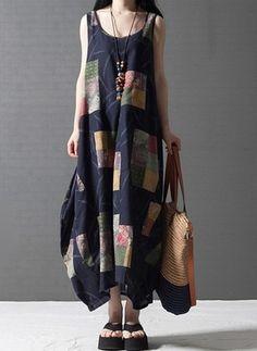 Vestidos Algodón Linen Hasta los tobillos Sin mangas (1012931) @ floryday.com