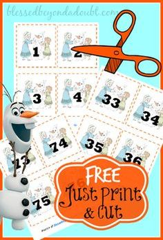 FREE Frozen number cards! Just print and cut!