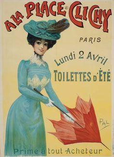magasin A la Place Clichy - années 1900 - illustration de Pal (Jean de Paleologue) - Paris - France -