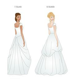 wedding dress bustle types