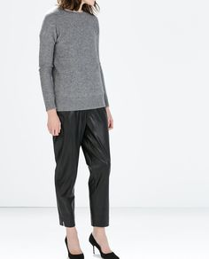 Image 2 of LEATHER EFFECT TROUSERS from Zara