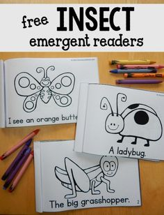 Free insect emergent readers - great to use alongside a preschool insect theme! Teach sight words and concepts of print with these free insect emergent readers! So much fun for students in kindergarten and first grade. Kindergarten Science, Kindergarten Literacy, Preschool Learning, Literacy Activities, Preschool Crafts, Insect Activities, Preschool Bug Theme, Math Games, Toddler Preschool