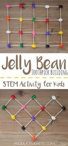An easy STEM Activity that can be done as independent play, or as a team building challenge for kids. Create the tallest jelly bean tower, build an intricate structure, or even work on learning letters and numbers. (can use dots, mike and ikes whatever works) #preschool #kindergarten