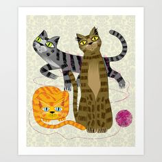 Three Cool Cats Art Print by Oliver Lake | Society6