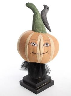 14'high Primitive Halloween Folk Art Pumpkin with Crow on Stem >>> More forbidden discounts at the link of image : Collectible Figurines for Christmas