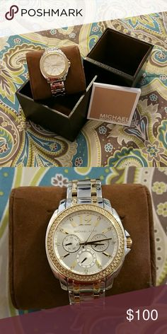 Womans Michael Kors Watch Silver with Gold accents, crystals surrounding watch face, one and a quarter inch watch face. Brand new! Never worn! Michael Kors Accessories Watches