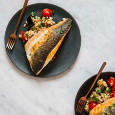 Sea bass with tomato, aubergine and pearl barley, an easy healthy recipe for a midweek dinner by 26 Grains Best Fish Recipes, Easy Healthy Recipes, Veggie Recipes, Seafood Recipes, Cooking Recipes, Savoury Recipes, Spicy Recipes, Summer Recipes, Seared Fish