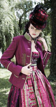 It's like a pink plaid steampunk dirndl, or something. Really fun look! Viktorianischer Steampunk, Costume Steampunk, Steampunk Design, Steampunk Clothing, Steampunk Fashion, Steampunk Emporium, Steampunk Dress, Steampunk Wedding, Lady Like