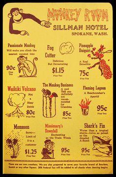 cocktail menu from Monkey Room, Sillman Hotel - Spokane, WA