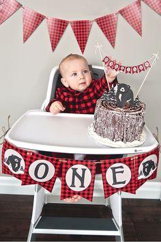 Plaid highchair decor from a Baby Bear Lumberjack Birthday Party on Kara's Party Ideas | KarasPartyIdeas.com (28)