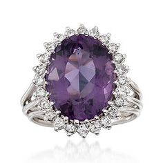 Vintage amethyst (8.75 ct) and diamond ring in 14kt white gold from Ross Simons ($1350).