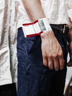 Luggage tag bracelets at Matthew Miller LCM. Fashion Art, Fashion Show, Mens Fashion, Fashion Design, V Model, Textiles, Deconstruction, Ss16, Fashion Details