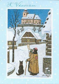 Czech christmas cards - Josef Lada: The Watchman Snowflakes, Vintage World Maps, Christmas Cards, Clip Art, Retro, Czech Republic, Drawings, Winter, Illustrations