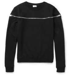 Saint Laurent Zipped Cotton-Jersey Sweatshirt | MR PORTER