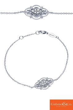 A 14k White Gold Diamond Chain Bracelet from Gabriel & Co. This intricate and delicate bracelet has such gorgeous details and designs. Pair this along with any other Gabriel bracelets to make a shockingly beautiful stack.
