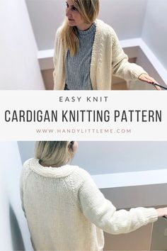 Make a super cozy oversized cardigan with this free cardigan knitting pattern. Skill level - easy. This knitted cardigan can be knit in any color you like! Shop the printable PDF pattern now. Beginner Knitting Patterns, Easy Knitting Projects, Sweater Knitting Patterns, Yarn Projects, Knitting For Beginners, Knitting Ideas, Knit Patterns, Free Knitting, Baby Knitting