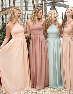Elegant Halter Ruffles A-line Long Peach Bridesmaid Dresses option 2 varieties but in color scheme