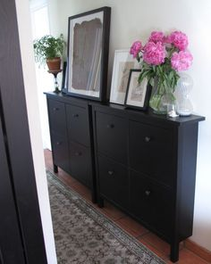 HEMNES Shoe cabinet with 4 compartments -great storage solution for blank walls in a narrow hallway Ikea Mud Room, Ikea Hemnes Shoe Cabinet, Slim Shoe Cabinet, Flur Design, Hallway Storage, Hallway Cabinet, Cabinet Closet, Console Cabinet, Small Space Storage