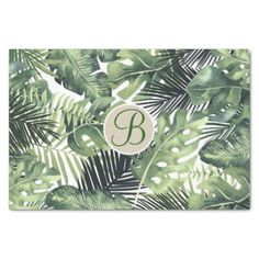 Tropical Palm Leaves Chic Monogram Letter Initial Tissue Paper - bridal gifts bride wedding marriage