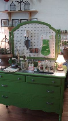 Dresser potting center with pegboard instead of mirror - brilliant!!