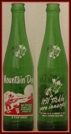 Mountain Dew is a citrus-flavored carbonated soft drink brand. It's Mountain Dew! Vintage Bottles, Vintage Ads, Vintage Food, Antique Bottles, Vintage Stuff, Vintage Advertisements, Vintage Signs, Sweet Memories, Childhood Memories