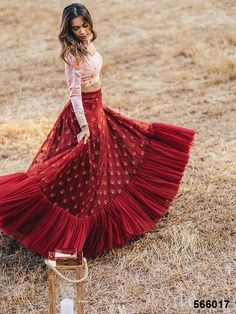 Maroon Net Embroidered Blouse With Lehenga Choli with Matching Color unstiched blouse. It contained the Embroidered work with inner. The Lehenga can be customized up to bust size Lehenga Length Waist size and Dupatta size Mtr. Choli Designs, Lehenga Designs, Half Saree Designs, Designer Bridal Lehenga, Bridal Lehenga Choli, Lehenga Saree, Designer Party Wear Dresses, Indian Designer Outfits, Lehnga Dress