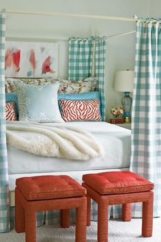 Flea Market Fabulous Bedroom - Restful Master Bedrooms - Southernliving. See how Eddie Ross used flea market finds to transform this room into a light-filled, colorful retreat that's exactly what the homeowner pictured for herself.  Bedroom Makeover with Flea Market Finds